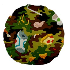 Urban Camo Green Brown Grey Pizza Strom Large 18  Premium Flano Round Cushions by Mariart