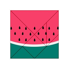 Watermelon Red Green White Black Fruit Acrylic Tangram Puzzle (4  X 4 ) by Mariart