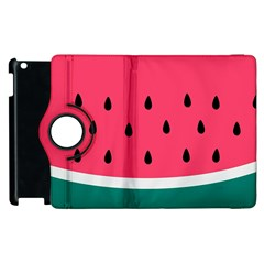 Watermelon Red Green White Black Fruit Apple Ipad 3/4 Flip 360 Case by Mariart