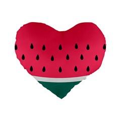 Watermelon Red Green White Black Fruit Standard 16  Premium Flano Heart Shape Cushions by Mariart