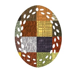 Blocky Filters Yellow Brown Purple Red Grey Color Rainbow Ornament (oval Filigree) by Mariart