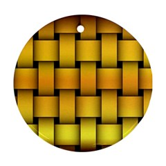 Rough Gold Weaving Pattern Round Ornament (two Sides) by Simbadda