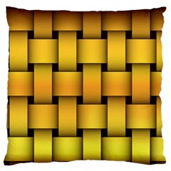Rough Gold Weaving Pattern Large Flano Cushion Case (one Side) by Simbadda