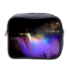 Niagara Falls Dancing Lights Colorful Lights Brighten Up The Night At Niagara Falls Mini Toiletries Bag 2 Side by Simbadda