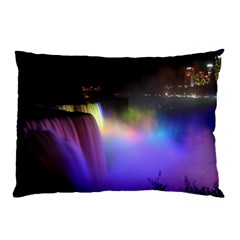 Niagara Falls Dancing Lights Colorful Lights Brighten Up The Night At Niagara Falls Pillow Case (Two Sides) by Simbadda
