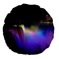 Niagara Falls Dancing Lights Colorful Lights Brighten Up The Night At Niagara Falls Large 18  Premium Round Cushions by Simbadda