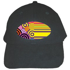 Retro Circles And Stripes Colorful 60s And 70s Style Circles And Stripes Background Black Cap by Simbadda