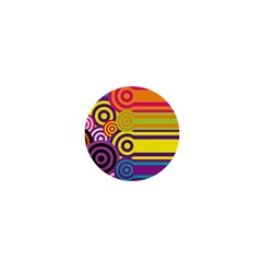 Retro Circles And Stripes Colorful 60s And 70s Style Circles And Stripes Background 1  Mini Buttons by Simbadda