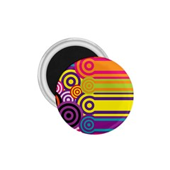 Retro Circles And Stripes Colorful 60s And 70s Style Circles And Stripes Background 1 75  Magnets by Simbadda