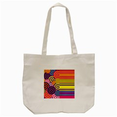 Retro Circles And Stripes Colorful 60s And 70s Style Circles And Stripes Background Tote Bag (cream) by Simbadda