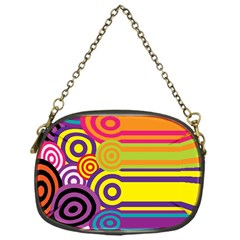 Retro Circles And Stripes Colorful 60s And 70s Style Circles And Stripes Background Chain Purses (one Side)  by Simbadda