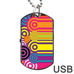 Retro Circles And Stripes Colorful 60s And 70s Style Circles And Stripes Background Dog Tag Usb Flash (two Sides) by Simbadda
