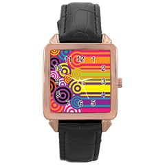 Retro Circles And Stripes Colorful 60s And 70s Style Circles And Stripes Background Rose Gold Leather Watch  by Simbadda