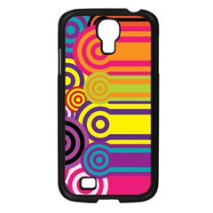 Retro Circles And Stripes Colorful 60s And 70s Style Circles And Stripes Background Samsung Galaxy S4 I9500/ I9505 Case (black) by Simbadda