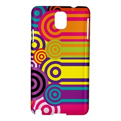 Retro Circles And Stripes Colorful 60s And 70s Style Circles And Stripes Background Samsung Galaxy Note 3 N9005 Hardshell Case by Simbadda