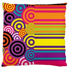 Retro Circles And Stripes Colorful 60s And 70s Style Circles And Stripes Background Large Flano Cushion Case (two Sides) by Simbadda
