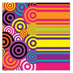 Retro Circles And Stripes Colorful 60s And 70s Style Circles And Stripes Background Large Satin Scarf (square) by Simbadda