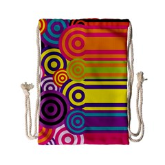 Retro Circles And Stripes Colorful 60s And 70s Style Circles And Stripes Background Drawstring Bag (small) by Simbadda