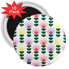 Floral Wallpaer Pattern Bright Bright Colorful Flowers Pattern Wallpaper Background 3  Magnets (10 Pack)  by Simbadda