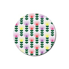 Floral Wallpaer Pattern Bright Bright Colorful Flowers Pattern Wallpaper Background Rubber Coaster (round)  by Simbadda