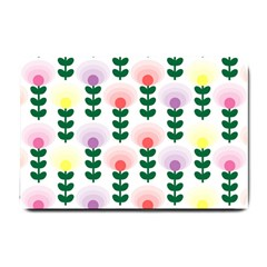 Floral Wallpaer Pattern Bright Bright Colorful Flowers Pattern Wallpaper Background Small Doormat  by Simbadda