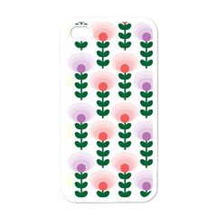 Floral Wallpaer Pattern Bright Bright Colorful Flowers Pattern Wallpaper Background Apple Iphone 4 Case (white) by Simbadda