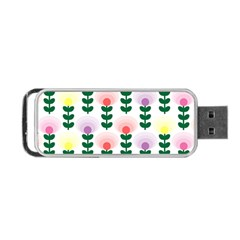 Floral Wallpaer Pattern Bright Bright Colorful Flowers Pattern Wallpaper Background Portable Usb Flash (two Sides) by Simbadda