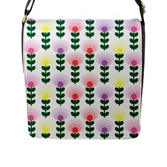 Floral Wallpaer Pattern Bright Bright Colorful Flowers Pattern Wallpaper Background Flap Messenger Bag (l)  by Simbadda