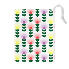 Floral Wallpaer Pattern Bright Bright Colorful Flowers Pattern Wallpaper Background Drawstring Pouches (extra Large) by Simbadda