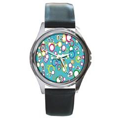 Circles Abstract Color Round Metal Watch by Simbadda