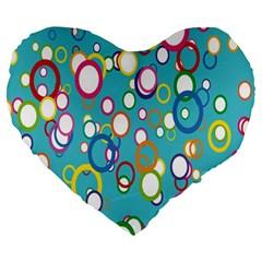 Circles Abstract Color Large 19  Premium Heart Shape Cushions by Simbadda