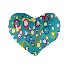 Circles Abstract Color Standard 16  Premium Flano Heart Shape Cushions by Simbadda