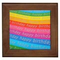 Colorful Happy Birthday Wallpaper Framed Tiles by Simbadda