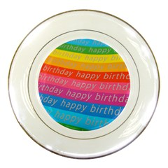 Colorful Happy Birthday Wallpaper Porcelain Plates by Simbadda