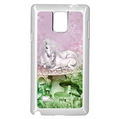 Wonderful Unicorn With Foal On A Mushroom Samsung Galaxy Note 4 Case (white) by FantasyWorld7