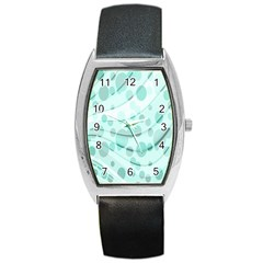 Abstract Background Teal Bubbles Abstract Background Of Waves Curves And Bubbles In Teal Green Barrel Style Metal Watch by Simbadda