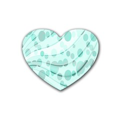 Abstract Background Teal Bubbles Abstract Background Of Waves Curves And Bubbles In Teal Green Rubber Coaster (heart)  by Simbadda