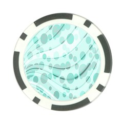 Abstract Background Teal Bubbles Abstract Background Of Waves Curves And Bubbles In Teal Green Poker Chip Card Guard by Simbadda