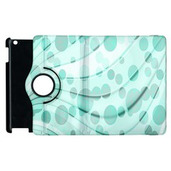 Abstract Background Teal Bubbles Abstract Background Of Waves Curves And Bubbles In Teal Green Apple Ipad 3/4 Flip 360 Case by Simbadda