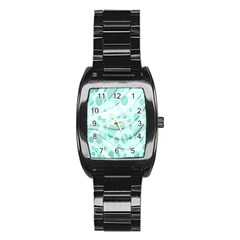 Abstract Background Teal Bubbles Abstract Background Of Waves Curves And Bubbles In Teal Green Stainless Steel Barrel Watch by Simbadda