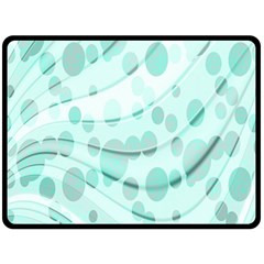 Abstract Background Teal Bubbles Abstract Background Of Waves Curves And Bubbles In Teal Green Double Sided Fleece Blanket (large)  by Simbadda
