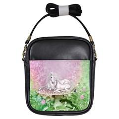 Wonderful Unicorn With Foal On A Mushroom Girls Sling Bags by FantasyWorld7
