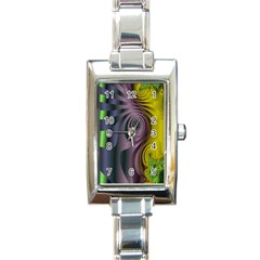 Fractal In Purple Gold And Green Rectangle Italian Charm Watch by Simbadda
