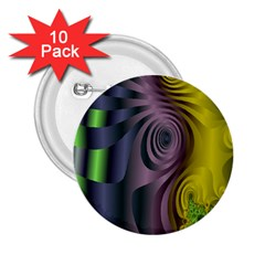 Fractal In Purple Gold And Green 2 25  Buttons (10 Pack)  by Simbadda