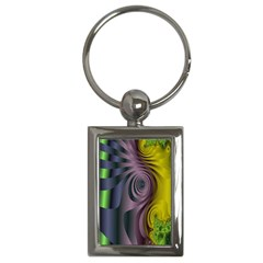 Fractal In Purple Gold And Green Key Chains (rectangle)  by Simbadda