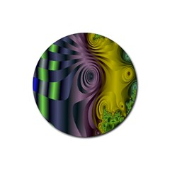 Fractal In Purple Gold And Green Rubber Round Coaster (4 Pack)  by Simbadda