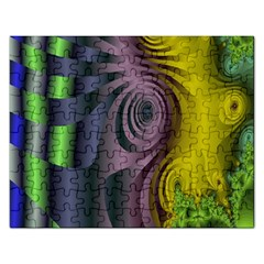 Fractal In Purple Gold And Green Rectangular Jigsaw Puzzl
