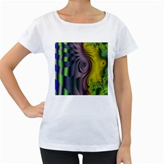 Fractal In Purple Gold And Green Women s Loose-Fit T-Shirt (White) by Simbadda