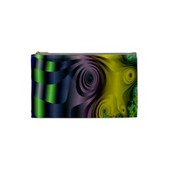 Fractal In Purple Gold And Green Cosmetic Bag (small)  by Simbadda