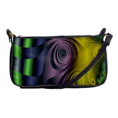 Fractal In Purple Gold And Green Shoulder Clutch Bags by Simbadda